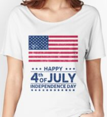 Happy 4th of July US American Flag Women's Relaxed Fit T-Shirt