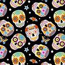 Sugar skulls on black by MirabellePrint