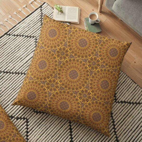Girasoles Medallions A in Chocolate Floor Pillow
