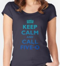 Keep Calm and Call Five-O (Sea Grad) Women's Fitted Scoop T-Shirt
