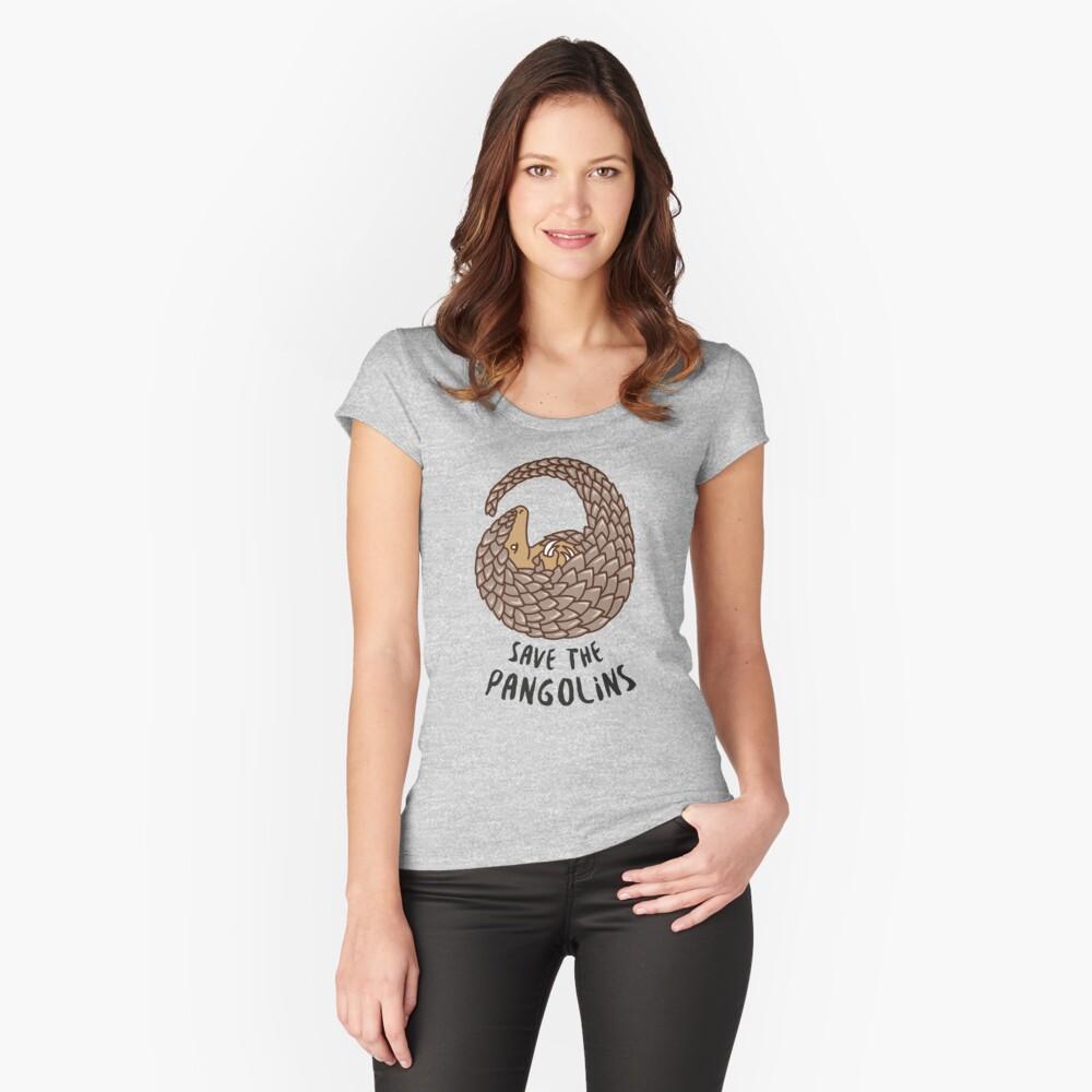 Speichern Sie die Pangolins - Pangolin zusammengerollt Tailliertes Rundhals-Shirt
