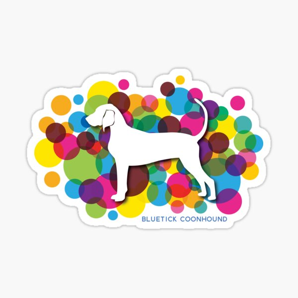 Bluetick Coonhound on Colorful Bubbles Background Sticker