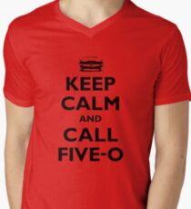 Keep Calm and Call Five-O (Black) Men's V-Neck T-Shirt