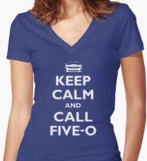 Keep Calm and Call Five-O (White) Women's Fitted V-Neck T-Shirt