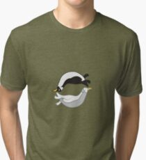 Yin and Yang penguin Tri-blend T-Shirt