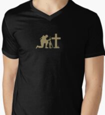 Soldier and the Cross Men's V-Neck T-Shirt