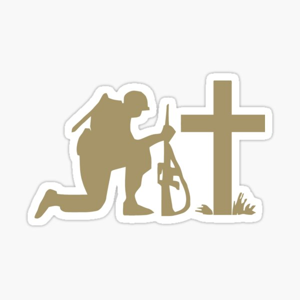 Soldier and the Cross Sticker