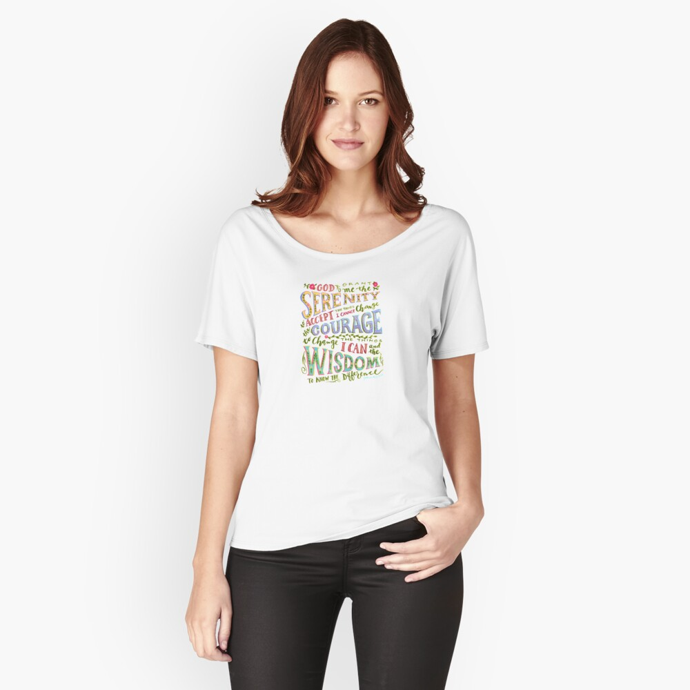 Serenity Prayer Hand Lettered Relaxed Fit T-Shirt