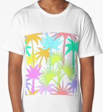 Retro Palm Trees in White Long T-Shirt