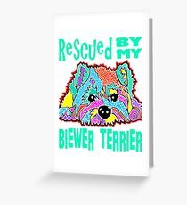 Biewer Biewers Terrier Happiness Rescued by My Puppy Terriers Dogs Puppies Dog Pet Pets Pink Green Jackie Carpenter Best Seller Gift Lover Love Greeting Card