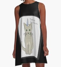 Magical Caticorn the winner is the cat with one horn unicorn A-Line Dress