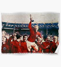 1966 England World Cup Winning Celebration watercolour watercolor Poster