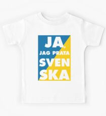 Ja, Jag Prata Svenska, Yes i speak swedish, with sweden flag colors 2 Kids Tee