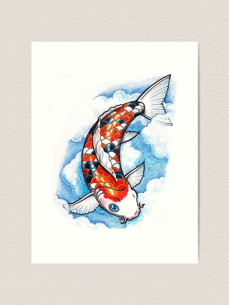 Koi Carp Fish Art Print By Martstore Redbubble
