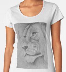 Black and White Pencil Lion  Women's Premium T-Shirt