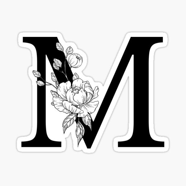 M Botanical Monogram. Detailed Peony Drawing Sticker