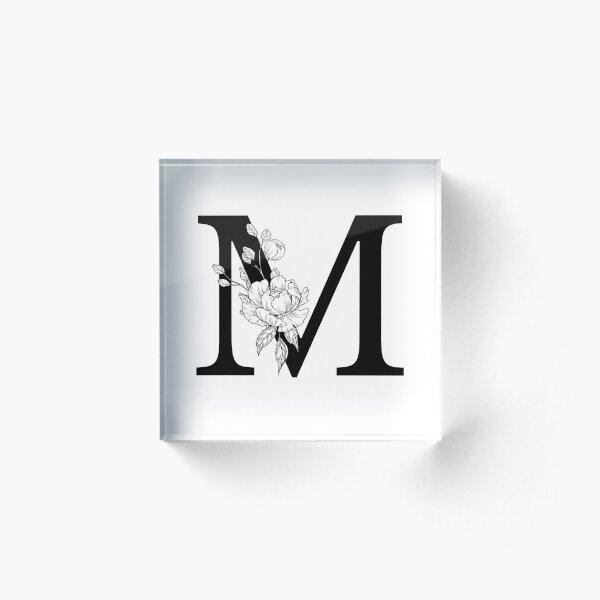M Botanical Monogram. Detailed Peony Drawing Acrylic Block
