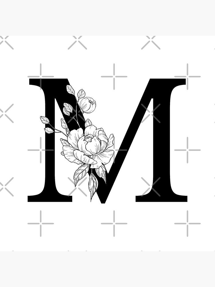 M Botanical Monogram. Detailed Peony Drawing by epine