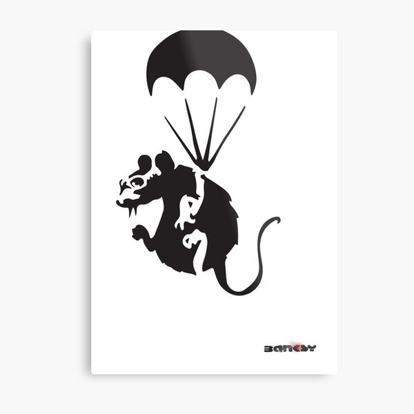 Banksy rat with parachute and nuclear war spy glasses Graffiti Street art with Banksy signature tag HD HIGH QUALITY ONLINE STORE Metal Print