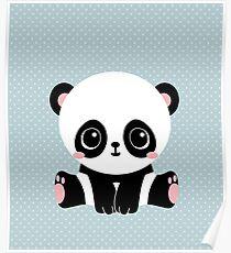 Cute Panda (Blue) Poster