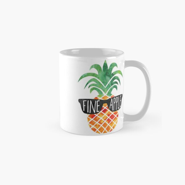FINEapple - funny Pineapple pun, funny T Shirt, mug, cruise, beach, Pineapple Gift, Fine, Apple, Pun, Summer, Vacation, vacay, chill, gift Classic Mug