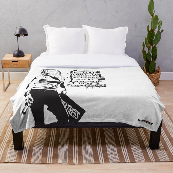 Banksy quote graffiti If You Want to Achieve Greatness stop asking for permission black and white with Banksy tag signature Throw Blanket