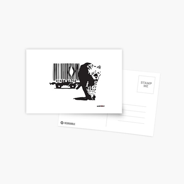 Banksy tiger leopard getting out of a Barcodes cage graffiti black and white Postcard