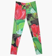 Tulips in the Woods Acrylic Painting Leggings