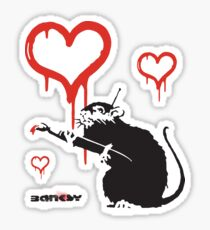 Banksy Hearts rat with remote control mind control Graffiti Street art with Banksy signature tag Sticker