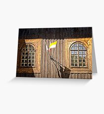 Windows of old wooden church wall Greeting Card