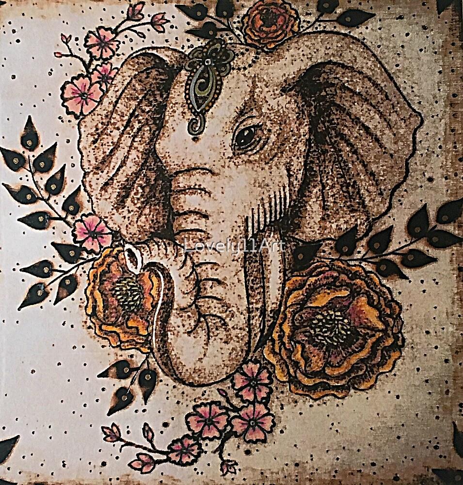 Elephant Bohemian Flowers by Lovely11Art