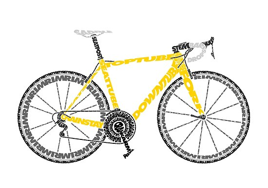 Typographic Anatomy Of A Tour De France Bike Posters By Jarodface