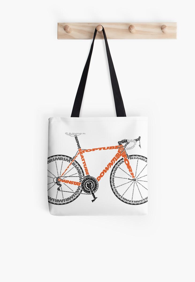 Typographic Anatomy of a Road Bike\
