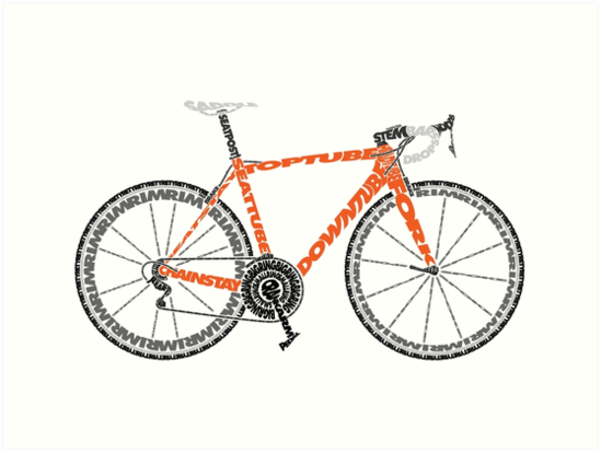 Typographic Anatomy of a Road Bike\