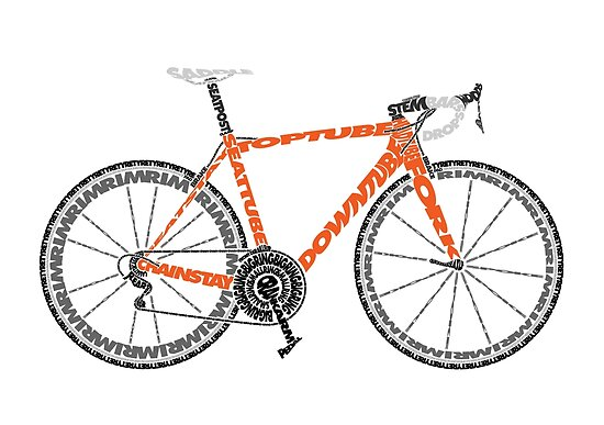 Typographic Anatomy Of A Road Bike Posters By Jarodface Redbubble