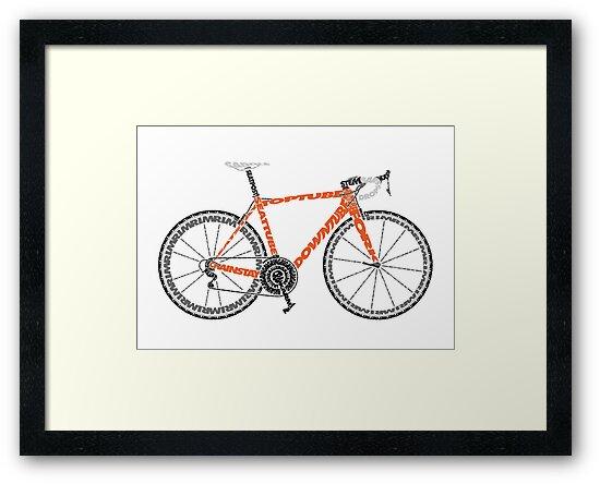 Typographic Anatomy Of A Road Bike Framed Prints By Jarodface