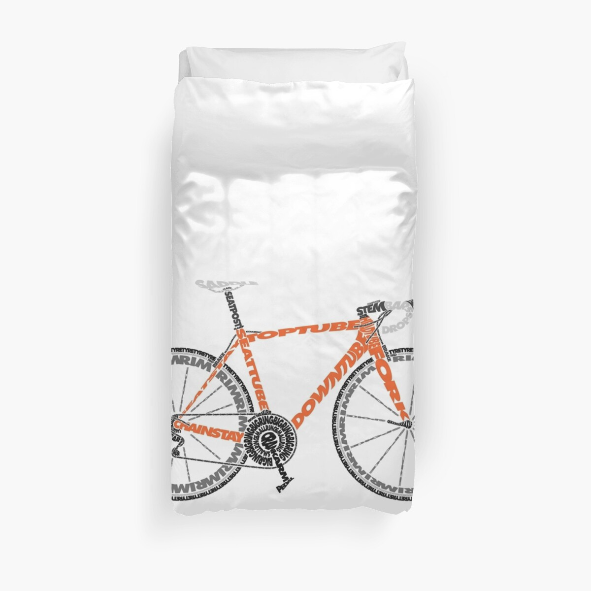 Typographic Anatomy Of A Road Bike Duvet Covers By Jarodface