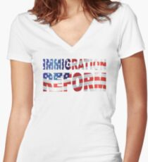 Government Immigration Reform Text Outline with USA American Flag Illustration Women's Fitted V-Neck T-Shirt