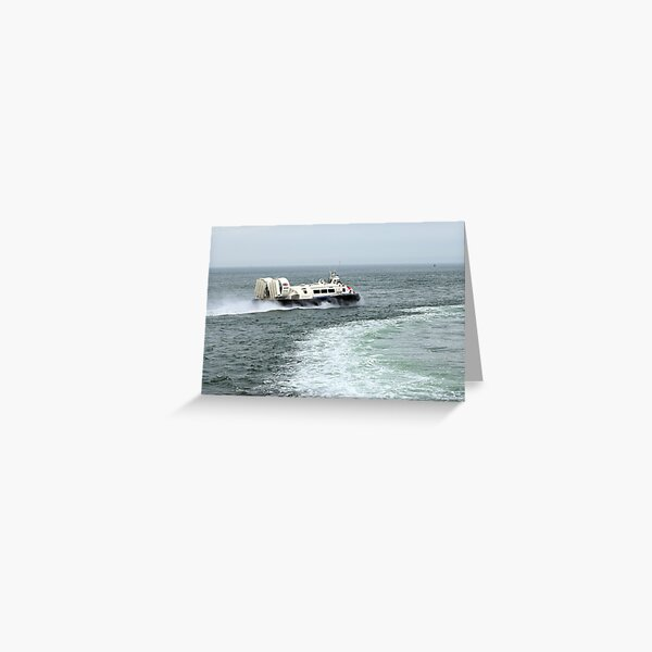 Hovercraft with boat wake Greeting Card