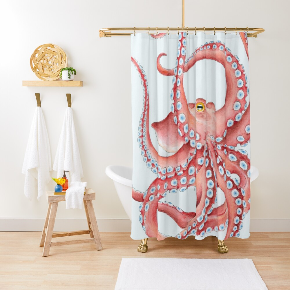 Red Octopus Tentacles dance Watercolor Ink Art Shower Curtain