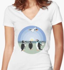 Penguin past or future Women's Fitted V-Neck T-Shirt