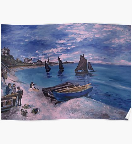 Monet Beach at  Sainte Adresse painting Poster