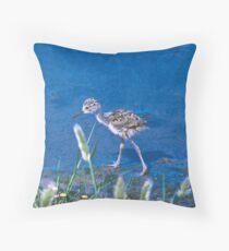 Guess What kind of Bird I Am. Solved Baby Black Neck Stilt shorebird Throw Pillow