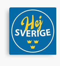Hej Sverige, Sweden, circle, blue bg Canvas Print