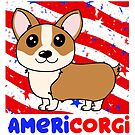AmeriCORGI - Cute Corgi Independence Day design; Great for Fourth of July celebration; Patriotic dog by hitechmom
