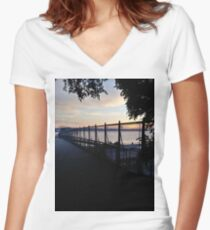 Fence, #Fence Women's Fitted V-Neck T-Shirt