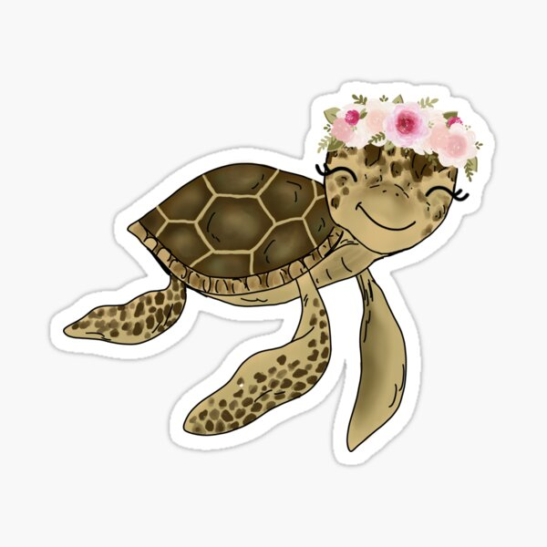Floral Crown Sea Turtle Sticker