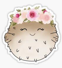 Floral Crown Pufferfish Sticker