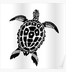Tribal Sea Turtle Tattoo Posters Redbubble