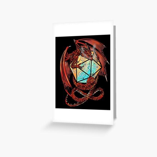 Red Dragon Dice Greeting Card